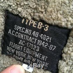 100% Shearling B-3 Flight Jacket Army US Air Forces Vintage Military Bomber sz S