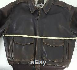 145VTG AVIREX LIMITED USA Type A-2 Army/Air Force Men's SZ M Brown Bomber Jacket