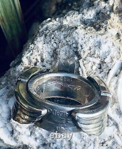 1942 WW2 US ARMY PIN COIN Ring Silver AIR FORCE Bomber Combat Wings Trench Art