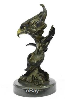38x20 cm Bronze Sculpture Statue Marble Eagle Head Bust Military Army Air Force