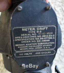 45 WWII Army Air Force B-17D Swoose Bomber B-3 Drift Meter for Norden Bombsight