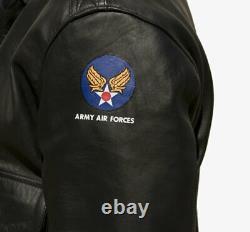 A-2 US Army Air Force HERREN Lederjacke Patches SCHWARZES PFERDE LEDER