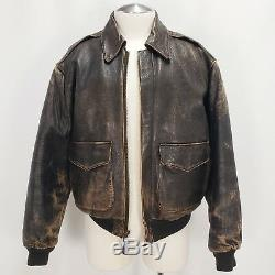 AVIREX Type A-2 Distressed Leather Star & Stripes U. S. Army Air Force Issue Sz L