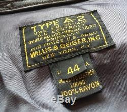 Authentic Leather Bomber Jacket Type A2 Cockpit Flight VTG US Air Force Army 44