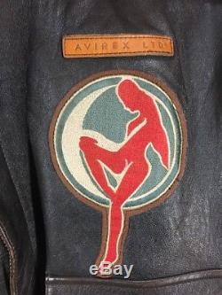 Avirex A-2 Army Air Force WW2 Flying Tiger Blood Chit Leather Bomber Jacket Sz M