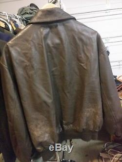 Avirex A-2 US Army Air Forces Brown Leather Flight Bomber Jacket XL / 48