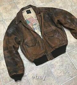 Avirex Leather Aviator Flight Jacket Type A-2 Us Flag Army Air Force Mens Large