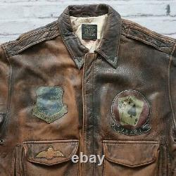 Avirex Type A-2 VP-21 US Army Air Forces Leather Flight Jacket Vtg 80s Size L