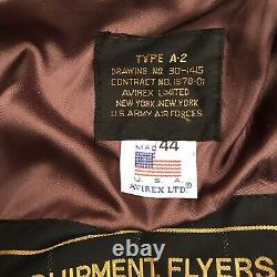 Avirex USA Army Air Forces Bomber Flight Jacket Leather Men's Sz 44