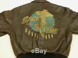 Avirex Vintage A2 Pilot's Leather Jacket Sack Time Pin up Air Force Size M Rare