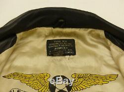 Avirex Vintage A2 Piloten Lederjackeu. S. Army Air Forceschwarzgr Ltip Top