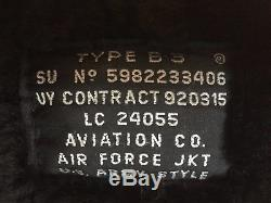 B3 US. AIR FORCE U. S. ARMY PILOTEN FLIEGERJACKE LEDER LAMMFELL SCHWARZ Gr. XL 54