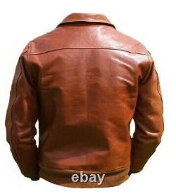 Bomber Waldo Pepper Army Styl Pilot Flight Airforce Crop Jet Real Leather Jacket