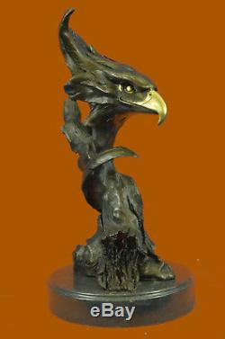 Bronze Marble Eagle Head Bust Military Army Air Force Marine Colonel Gift Sculpt