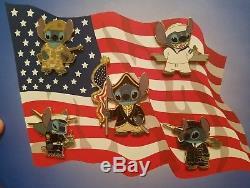 Disney Pin Stitch Patriotic Military Navy Marine Army Air Force HTF RARE Set