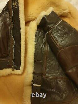 Eastman B3 U. S. Army Air Force Sheepskin Leather Aviator Flying Jacket Size 42