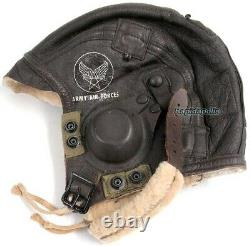 Genuine Fine WW2 US Army Air Forces B-6 Brown Leather Flying Helmet USAAF
