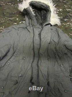 Genuine Us Air Force/army N-3b Extreme Cold Weather Snorkel Parka. Sage. Large