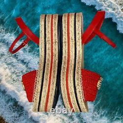 Gucci GG Red Sandals Slides Wedge Crochet Pearl Lilibeth Womens Size EU 38 US 8