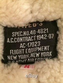 Men's Calafate B3 Shearling Sheepskin Army Air Force Bomber Flight Jacket Medium