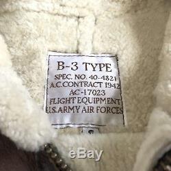 Men's Calafate B3 Shearling Sheepskin Army Air Force Bomber Flight Jacket Small