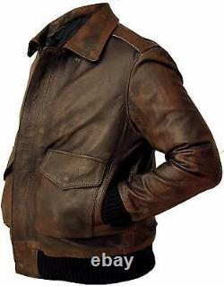 Mens Air Force A2 Brown Real Leather Flight Bomber Jacket Winter Special