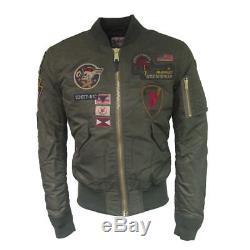 Mens Schott NYC Kaki Army Souvenir Air Force MA-1 Flight Bomber Jacket