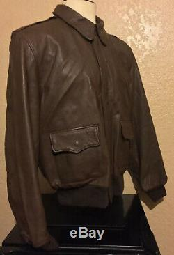 Military Type A-2 Willis & Geiger Army, Air Force Flight Leather Jacket Men's 44