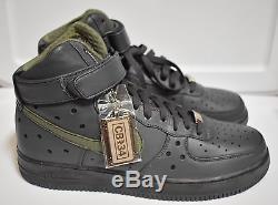 New Nike Air Force 1 HI Premium Barkley 07' Army Olive Black Hi Top Size 10.5