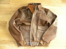 Nice De Brabander Leather Military WWII Bomber Flight Jacket, Type A2, Size 44