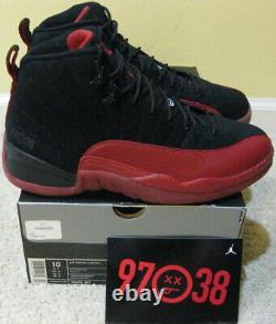 Nike Air Jordan 12 XII Retro Flu Game 2009 Sick Face 97 38 Black Red Bred Men 10