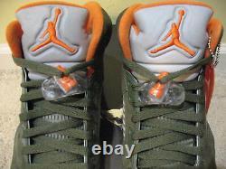 Nike Air Jordan 5 V Retro LS Shoes 2006 Olive Green Orange 3M UNDFTD 4 6 Men 10