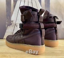 Nike SF Air Force 1 High Deep Burgundy Gum Boots 864024-600 Mens Size 10