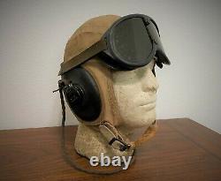 ORIGINAL WWII US ARMY AIR FORCE SUMMER FLYING HELMET with EARPHONES (RECEIVERS)