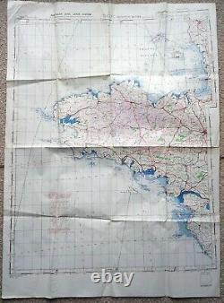 Original 1944 Cherbourg Normandy Map D Day British Army Military Wwii Ww2 Raf