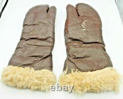 Original U. S. WWII Army Air Force A-9A Leather Flying Mitten Gloves MEDIUM