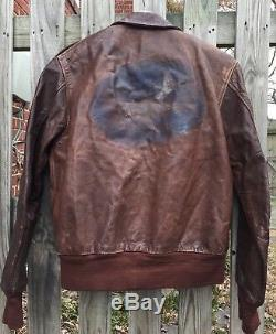 Original WWII US Army Air Force A-2 Paint Art Work Bomber Flight Jacket. Size 42