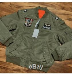 Polo Ralph Lauren MA-1 Military Army US Air Force Flight Bomber Pilot Jacket L