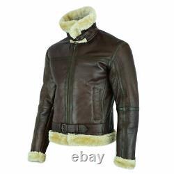 RAF Mens B3 Air Force Sheep Leather Jacket Pilot Flying Aviator Fur Bomber Brown