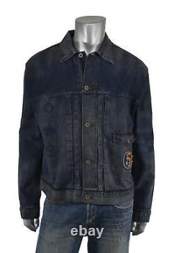 Ralph Lauren RRL Distressed US Air Force Patch Indigo Denim Jacket XL New $590