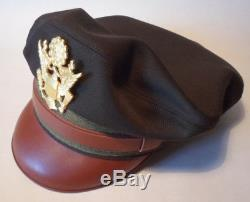 Repro WW2 Crusher Cap Visor US Army Air Force Officer's Elastique OD 51 Size 59