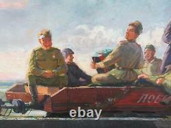 Russian Soviet War Art Original Painting 1950 Army Navy Airforce Propoganda
