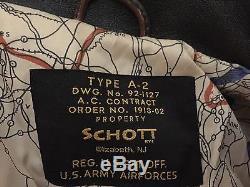 SCHOTT Type A-2 Leather BomberFlight Jacket Brown Sz XL US Army Airforces NJ