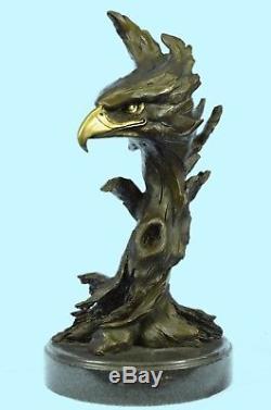 Sculpture Statue Marble Eagle Head Bust Military Army Air Force Marine Bronze Ra