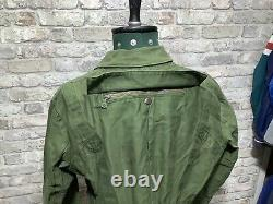 Swedish army Airforce Para Tank Driver Jacket 70s 80s Military Smock Khaki S
