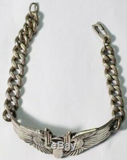US Army Air Force AAF Aerial Gunner Wing Silver Bracelet