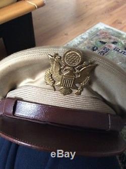US Army Air Force Konvolut Uniform WW2 Crusher Cap Pacific War Pilot Named