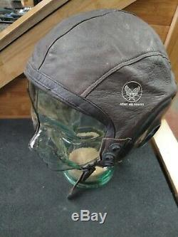 US Army Air Force Leather Flight Helmet A-11 Size Large Spec No. 3189