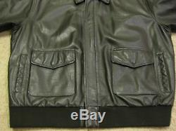 US Army Air Force Type A-2 Flyers Leather Black Bomber Flight Jacket XXL 2XL Big