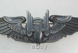 US WW2 Army Air Force Pin Back Sterling Aerial Gunner Wings 3 Moody Bros M332